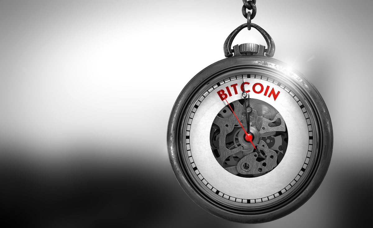Pocket Watch with Bitcoin Text on the Face